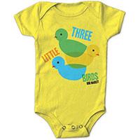 Bob Marley- Three Little Birds on a yellow onesie