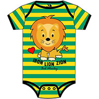 Bob Marley- Iron Lion Zion on a green & yellow striped onesie
