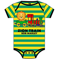 Bob Marley- Zion Train on a green & yellow striped onesie
