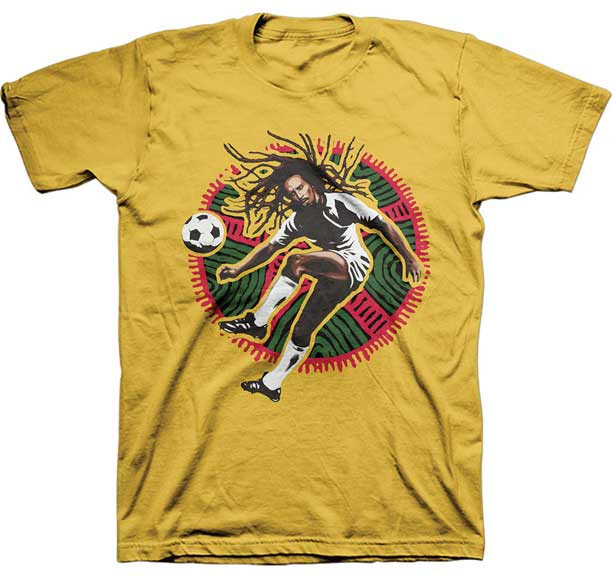 Bob Marley- Soccer Pic on a mustard shirt