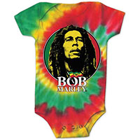 Bob Marley- Circle Pic on a tie dye onesie