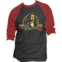 Bob Marley- '79 on a charcoal/red 3/4 sleeve raglan shirt