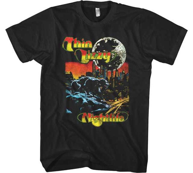 Thin Lizzy- Nightlife on a black ringspun cotton shirt