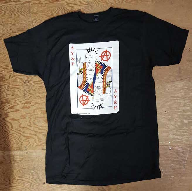 Angry Young And Poor- Playing Card on front, 20 Years on back on a coal ringspun cotton shirt