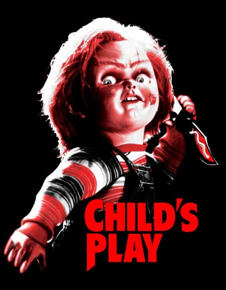 Childs Play- Chuckie on a black hooded sweatshirt