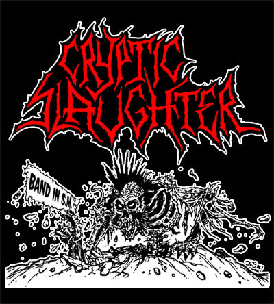 Cryptic Slaughter- Band In SM on a black hooded sweatshirt