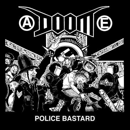 Doom- Police Bastard (Riot) on a black hooded sweatshirt