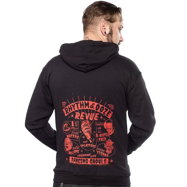 Logo On Front, Rhythm & Ooze Revue on back on a black zip up hooded sweatshirt by Kustom Kreeps - SALE sz M only
