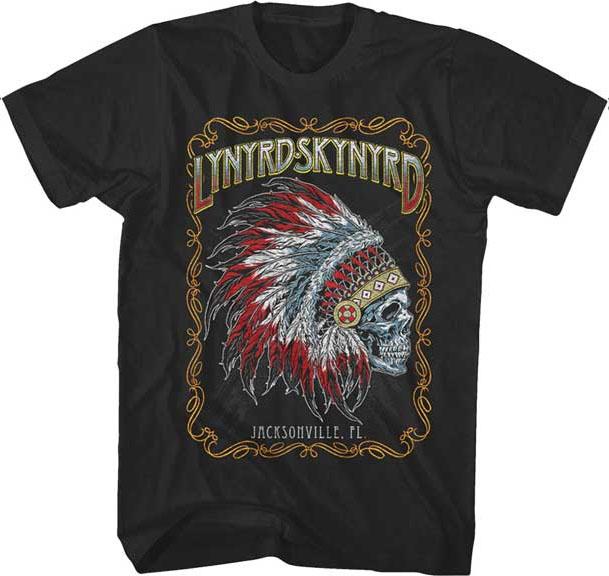 Lynyrd Skynyrd- Indian Skull on a black shirt