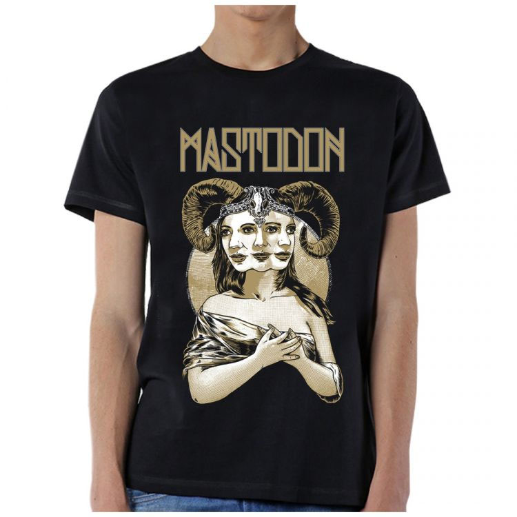 Mastodon- Horned Lady on a black ringspun cotton shirt (Sale price!)