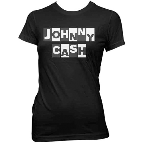 Johnny Cash- Hostage Letters on a black girls fitted shirt (Sale price!)