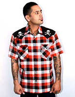 Chaos Skull & Bones Red Plaid Button Up Western Shirt by Steady  - SALE sz XL & 2X only