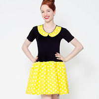 Pop Life Mod Dress by Putre-Fashion - in Black & Yellow Polka Dot - SALE