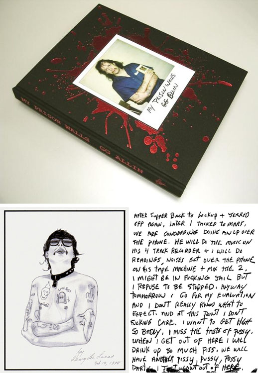 GG Allin- My Prison Walls (Hardcover Book, Ltd Ed, Each Book Individually #'d)