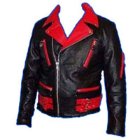 British Style 2 Tone Leather Biker Jacket- BLACK/RED