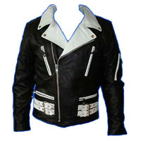 British Style 2 Tone Leather Biker Jacket- BLACK/WHITE