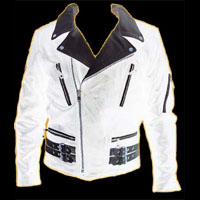 British Style 2 Tone Leather Biker Jacket- WHITE/BLACK