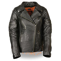Ladies High Quality Zippered & Riveted Motorcycle Jacket by Milwaukee Leather
