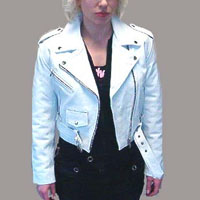 Girls Biker Jacket- WHITE leather