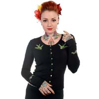Black Embroidered Swallows Cardigan by Banned Apparel