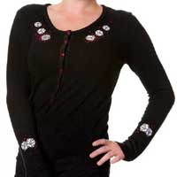 Black Embroidered Dice Cardigan by Banned Apparel