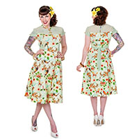 Butterfly & Flowers Retro Mandarin Collar Dress by Banned Apparel - SALE sz S only