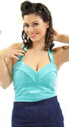Aqua Halter Top by Dressed To Kill - SALE sz S & XL only
