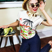 Vintage Hula fitted  t-shirt by Dressed To Kill