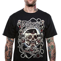 Barberia Los Muertos design on a black shirt by Lucky 13 Clothing