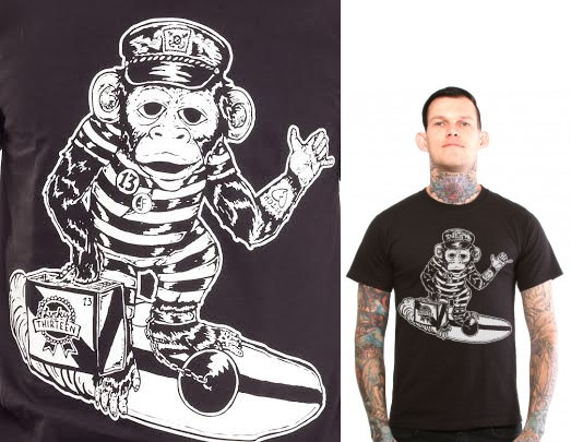 Surfin Monkey on a black shirt by Lucky 13 Clothing - SALE sz S only