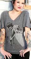 Muse V- Neck Dolman Split Sleeve girls shirt by Low Brow Art Company - SALE sz S only