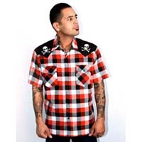 Chaos Skull & Bones Red Plaid Button Up Western Shirt by Steady