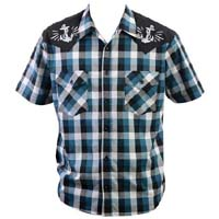 Anchors Away Plaid Button Up Western Shirt by Steady  - Teal/Black/White - SALE sz S only