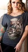 Sailor Jerry Boat Neck Dolman Sleeve girls shirt by Low Brow Art Company - SALE
