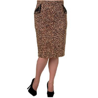 Leopard Plus Size Pencil Skirt by Banned Apparel - SALE