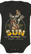 Sun Records- Roosterbilly on a black onesie by Steady Clothing (S=6m, M=12m, L=18m, XL=24m) (Sale price!)