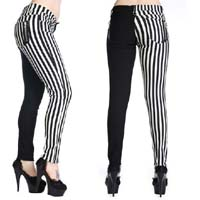 White & Black Striped Split Skinny Jeans by Banned Apparel