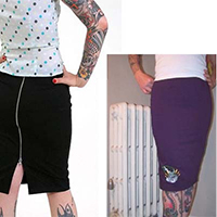 Bride Face Pencil Skirt by Zombie Kitten - SALE sz XS only