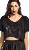 Widow Chinsed Jersey Crop Top in Black by Lip Service - SALE