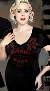 Bloody Mary Girls V Neck t-shirt by Se7en Deadly - SALE sz L only