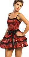Tulle Layered Leopard Short Dress And Bow Headband by Lip Service- Red/Black - SALE sz S only