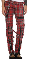 Girls Red Plaid Cotton Bondage Pants w Straps by Tripp NYC  - SALE