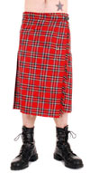 Mens Long Red Plaid  Kilt by Tiger of London - COTTON
