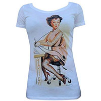 Tattooed Betty Scoopneck Girls Shirt by Black Market Art Company - SALE sz L only