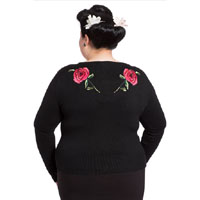 Plus Size Embroidered Western Rose Rockabilly Cardigan by Voodoo Vixen - SALE sz 3X only