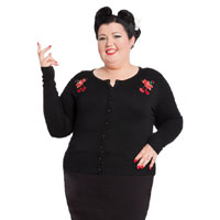 Plus Size Blooming Cherry Cardigan in black by Voodoo Vixen/Living Dead Souls - SALE