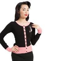 Retro Kitty Atomic Cardigan in black & pink by Voodoo Vixen - SALE sz XXL only