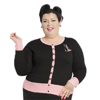 Plus Size Retro Kitty Cardigan in black & pink by Voodoo Vixen/Living Dead Souls - SALE sz 2X only