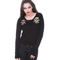 Skull Burger Cardigan in black by Jawbreaker - SALE sz S only