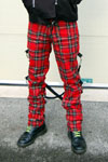 UK 2 Strap Bondage Pants (Wool Blend) by Tiger Of  London- RED PLAID sz 28 only